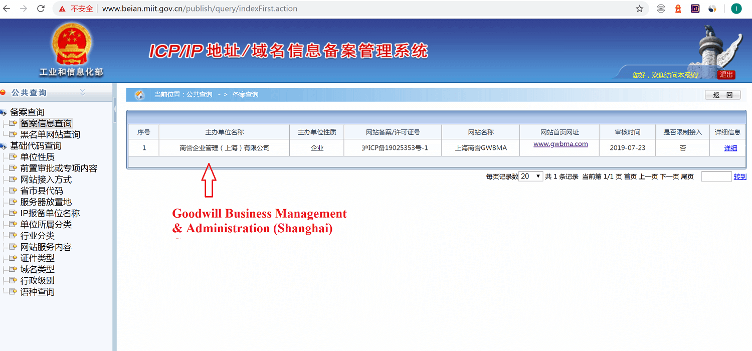Chinese website ICP and company name