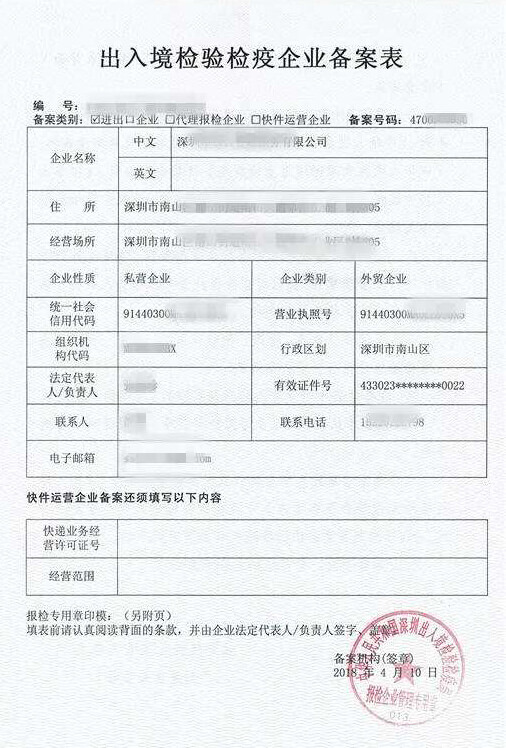 Registration Certificate for Inspection china